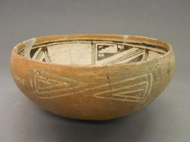 Ancient Pueblo (Anasazi). <em>Kwakina Polychrome Bowl</em>. Clay, slip, pigment, 4 3/8 x 9 5/8 in. (11.1 x 24.4 cm). Brooklyn Museum, Riggs Pueblo Pottery Fund, 02.257.2476. Creative Commons-BY (Photo: Brooklyn Museum, CUR.02.257.2476_view1.jpg)