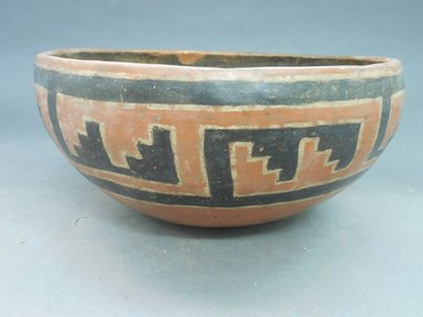 Ancient Pueblo (Anasazi). <em>Pindale Polychrome Bowl</em>, 1250-1350. Clay, slip, pigment, 4 3/4 x 9 5/8 x 9 5/8 in. (12.1 x 24.4 x 24.4 cm). Brooklyn Museum, Riggs Pueblo Pottery Fund, 02.257.2491. Creative Commons-BY (Photo: Brooklyn Museum, CUR.02.257.2491_view1.jpg)