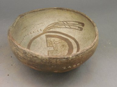 Ancient Pueblo (Anasazi). <em>Bowl</em>, 900-1300. Clay, slip, 3 1/8 x 7 1/8 in.  (7.9 x 18.1 cm). Brooklyn Museum, Riggs Pueblo Pottery Fund, 02.257.2499. Creative Commons-BY (Photo: Brooklyn Museum, CUR.02.257.2499_view2.jpg)