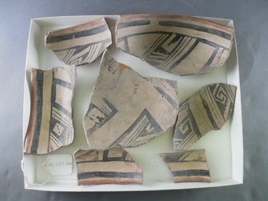 Ancient Pueblo (Anasazi). <em>Bowl Fragments</em>, 1325-1400C.E. Clay, slip, 4 1/4 in.  (10.8 cm). Brooklyn Museum, Riggs Pueblo Pottery Fund, 02.257.2500. Creative Commons-BY (Photo: Brooklyn Museum, CUR.02.257.2500.jpg)