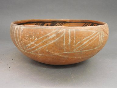 Ancient Pueblo (Anasazi). <em>Bowl</em>, 1200-1250C.E. Clay, slip, 4 3/4 x 10 1/2 in.  (12.1 x 26.7 cm). Brooklyn Museum, Riggs Pueblo Pottery Fund, 02.257.2503. Creative Commons-BY (Photo: Brooklyn Museum, CUR.02.257.2503_view1.jpg)