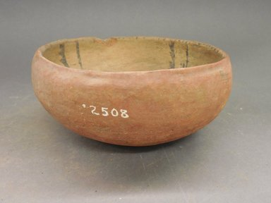 Ancient Pueblo (Anasazi). <em>Bowl</em>. Clay, slip, 3 1/4 x 6 3/8 in.  (8.3 x 16.2 cm). Brooklyn Museum, Riggs Pueblo Pottery Fund, 02.257.2508. Creative Commons-BY (Photo: Brooklyn Museum, CUR.02.257.2508_view1.jpg)