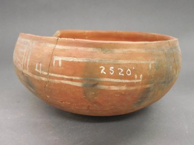 Ancient Pueblo (Anasazi). <em>Bowl</em>. Clay, slip, 3 5/8 x 7 1/8 in. (9.2 x 18.1 cm). Brooklyn Museum, Riggs Pueblo Pottery Fund, 02.257.2520. Creative Commons-BY (Photo: Brooklyn Museum, CUR.02.257.2520_view2.jpg)