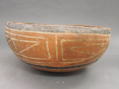 Ancient Pueblo (Anasazi). <em>Bowl</em>. Clay, slip, 4 1/8 x 9 x 9 in. (10.5 x 22.9 x 22.9 cm). Brooklyn Museum, Riggs Pueblo Pottery Fund, 02.257.2525. Creative Commons-BY (Photo: Brooklyn Museum, CUR.02.257.2525_view3.jpg)