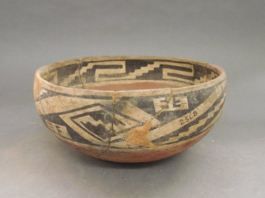 Ancient Pueblo (Anasazi). <em>Bowl</em>. Clay, slip, 4 1/8 x 9 3/8 in.  (10.5 x 23.8 cm). Brooklyn Museum, Riggs Pueblo Pottery Fund, 02.257.2568. Creative Commons-BY (Photo: Brooklyn Museum, CUR.02.257.2568.jpg)