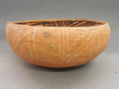 Ancient Pueblo (Anasazi). <em>Heshotauthla Polychrome Bowl</em>, 1275-1400C.E. Clay, slip, 4 7/8 x 10 1/8 in.  (12.4 x 25.7 cm). Brooklyn Museum, Riggs Pueblo Pottery Fund, 02.257.2570. Creative Commons-BY (Photo: Brooklyn Museum, CUR.02.257.2570_view1.jpg)