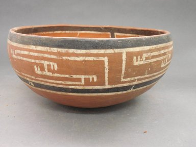 Ancient Pueblo (Anasazi). <em>Fourmile Polychrome Bowl</em>, 1350-1400C.E. Clay, slip, 4 1/2 x 9 1/4 in.  (11.4 x 23.5 cm). Brooklyn Museum, Riggs Pueblo Pottery Fund, 02.257.2571. Creative Commons-BY (Photo: Brooklyn Museum, CUR.02.257.2571_view1.jpg)