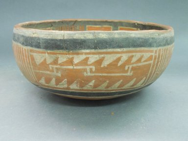 Ancient Pueblo (Anasazi). <em>Fourmile Polychrome Bowl</em>, 1350-1400C.E. Clay, slip, 4 1/2 x 8 1/2 in.  (11.4 x 21.6 cm). Brooklyn Museum, Riggs Pueblo Pottery Fund, 02.257.2574. Creative Commons-BY (Photo: Brooklyn Museum, CUR.02.257.2574_view1.jpg)