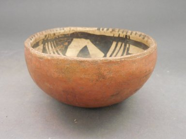 Ancient Pueblo (Anasazi). <em>Bowl</em>. Clay, slip, 4 1/2 x 8 1/2 in.  (11.4 x 21.6 cm). Brooklyn Museum, Riggs Pueblo Pottery Fund, 02.257.2575. Creative Commons-BY (Photo: Brooklyn Museum, CUR.02.257.2575_view1.jpg)