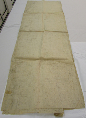 Hawaiian. <em>Tapa (Kapa)</em>, mid 19th-early 20th century. Barkcloth, 85 1/16 x 63 3/4 in (216 x 162 cm). Brooklyn Museum, Gift of George C. Brackett and Robert B. Woodward, 02.258.2632. Creative Commons-BY (Photo: , CUR.02.258.2632_overall.jpg)