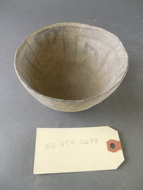 Ancient Pueblo (Anasazi). <em>Bowl</em>. Clay, slip, 2 5/8 x 5 1/4 in. (6.7 x 13.3 cm). Brooklyn Museum, Gift of Charles A. Schieren, 02.259.2697. Creative Commons-BY (Photo: Brooklyn Museum, CUR.02.259.2697.jpg)
