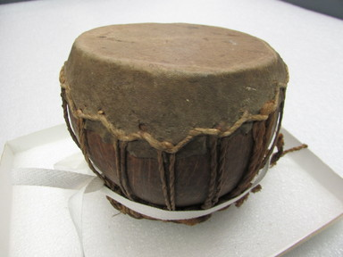 Fijian. <em>Drum</em>. Coconut shell, skin, fiber, 3 3/4 x 3 15/16 in. (9.5 x 10 cm). Brooklyn Museum, Brooklyn Museum Collection, 02.98. Creative Commons-BY (Photo: , CUR.02.98_overall.jpg)