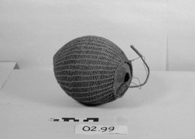 Fijian. <em>Bottle</em>. Coconut shell, fiber, 5 11/16 x 7 1/16 in. (14.5 x 18 cm). Brooklyn Museum, Brooklyn Museum Collection, 02.99. Creative Commons-BY (Photo: Brooklyn Museum, CUR.02.99_bw.jpg)