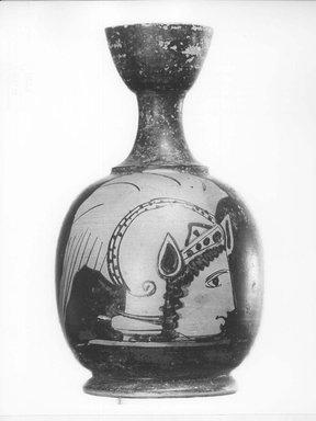 Greek-Attic. <em>Lekythos</em>, late 5th century B.C.E. Clay, pigment, 3 3/4 x diam. of body 2 3/16 in. (9.5 x 5.5 cm). Brooklyn Museum, Gift of Carll H. de Silver, 03.16. Creative Commons-BY (Photo: Brooklyn Museum, CUR.03.16_NegA_print_bw.jpg)