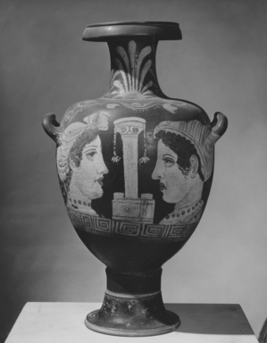 Campanian. <em>Red-Figure Hydria</em>. Clay, slip Brooklyn Museum, Gift of Robert B. Woodward, 03.1. Creative Commons-BY (Photo: Brooklyn Museum, CUR.03.1_NegA_print_bw.jpg)