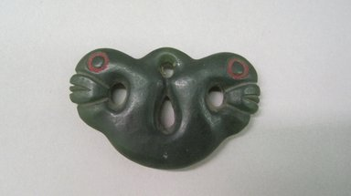 Maori. <em>Pendant (Pekapeka)</em>, 19th century. Nephrite, sealing wax, 1 3/4 x 2 3/4 in. (4.5 x 7 cm). Brooklyn Museum, Brooklyn Museum Collection, 03.214. Creative Commons-BY (Photo: Brooklyn Museum, CUR.03.214.jpg)