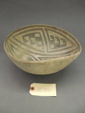 Pueblo (unidentified). <em>Decorated Bowl</em>, Probably 900-1300, Pueblo II-III. Clay, slip, pigment, 8 3/4 x 11 1/2 x 5 5/8 in. (22.2 x 29.2 x 14.3 cm). Brooklyn Museum, Museum Expedition 1903, Purchased with funds given by A. Augustus Healy and George Foster Peabody, 03.325.10956. Creative Commons-BY (Photo: Brooklyn Museum, CUR.03.325.10956_view1.jpg)
