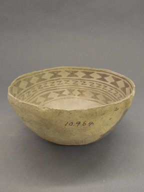 Ancient Pueblo (Anasazi). <em>Bowl</em>, Probably 1070-1300, Pueblo III. Clay, slip, 3 1/2 x 7 1/4 in. (8.9 x 18.4 cm). Brooklyn Museum, Museum Expedition 1903, Purchased with funds given by A. Augustus Healy and George Foster Peabody, 03.325.10964. Creative Commons-BY (Photo: Brooklyn Museum, CUR.03.325.10964_view1.jpg)