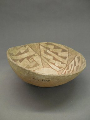 Pueblo (unidentified). <em>Decorated Bowl</em>. Clay, slip, 3 1/8 x 8 3/4 in. (7.9 x 22.2 cm). Brooklyn Museum, Museum Expedition 1903, Purchased with funds given by A. Augustus Healy and George Foster Peabody, 03.325.10989. Creative Commons-BY (Photo: Brooklyn Museum, CUR.03.325.10989_view1.jpg)