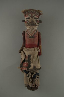 She-we-na (Zuni Pueblo). <em>Kachina Doll (Bok-chi-a-la-kwai)</em>, late 19th century. Wood, pigments, hide, cotton, wool, silk, plant fibers, feathers, sinew, nails, 9 3/4 x 3 in. (6.8 x 6.8 x 25.3 cm). Brooklyn Museum, Museum Expedition 1903, Museum Collection Fund, 03.325.3203. Creative Commons-BY (Photo: Brooklyn Museum, CUR.03.325.3203_front.jpg)