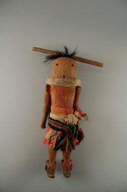 She-we-na (Zuni Pueblo). <em>Kachina Doll (Wi-ha Ya-mu-hak-do)</em>, late 19th century. Wood, pigments, hair, cotton, wool, hide, sinew, 12 x 3 1/2 x 4 in. (30.5 x 8.9 x 10.2 cm). Brooklyn Museum, Museum Expedition 1903, Museum Collection Fund, 03.325.3204. Creative Commons-BY (Photo: Brooklyn Museum, CUR.03.325.3204_front.jpg)