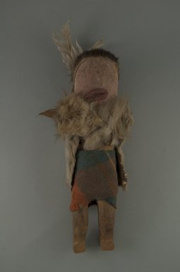 She-we-na (Zuni Pueblo). <em>Kachina Doll (Hai-a Wi-ha)</em>, late 19th century. Wood, pigments, furs and hide, wool, feathers, cotton, 12 x 3 3/4 in. (26.5 x 9.0 cm). Brooklyn Museum, Museum Expedition 1903, Museum Collection Fund, 03.325.3205. Creative Commons-BY (Photo: Brooklyn Museum, CUR.03.325.3205_front.jpg)