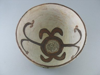 Navajo. <em>Orangeware Bowl (Tetsa) with Brown and Red Designs</em>. Pottery, slip, 4 x 9 3/4 in. (10.0 x 25.0 cm). Brooklyn Museum, Museum Expedition 1903, Museum Collection Fund, 03.325.3794. Creative Commons-BY (Photo: Brooklyn Museum, CUR.03.325.3794_view1.jpg)