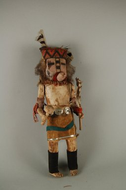 She-we-na (Zuni Pueblo). <em>Kachina Doll (Pahaleko)</em>, late 19th century. Wood, velvet, metal, feather Brooklyn Museum, Museum Expedition 1903, Museum Collection Fund, 03.325.4616. Creative Commons-BY (Photo: Brooklyn Museum, CUR.03.325.4616_front.jpg)