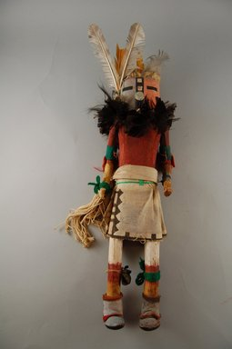 She-we-na (Zuni Pueblo). <em>Kachina Doll (Etetse Pona)</em>, late 19th century. Cotton, hide, metal, wood, cloth, hide, yarn, string, feathers, nails, 15 3/4 [without feathers-15 5/6] x 4 1/8 x 4 1/2 in.  (40 [without feathers-38.9 cm] x 10.5 x 11.4 cm). Brooklyn Museum, Museum Expedition 1903, Museum Collection Fund, 03.325.4625. Creative Commons-BY (Photo: Brooklyn Museum, CUR.03.325.4625_front.jpg)