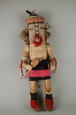She-we-na (Zuni Pueblo). <em>Kachina Doll (Powotampla?)</em>, late 19th century. Hide, hair, metal, wood, cloth, feathers, pigment, nails, cotton, (13.2 x 8.4 x 35.5 cm). Brooklyn Museum, Museum Expedition 1903, Museum Collection Fund, 03.325.4628. Creative Commons-BY (Photo: Brooklyn Museum, CUR.03.325.4628_front.jpg)
