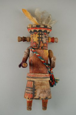 She-we-na (Zuni Pueblo). <em>Kachina Doll (Muloktakya or Mulok Takya)</em>, late 19th century. Wood, paint, yarn, feathers, 8 1/4 x 4 x 3 1/8 in. (21 x 10.2 x 7.9 cm). Brooklyn Museum, Museum Expedition 1903, Museum Collection Fund, 03.325.4633. Creative Commons-BY (Photo: Brooklyn Museum, CUR.03.325.4633_front.jpg)