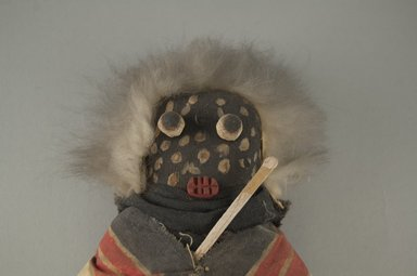 She-we-na (Zuni Pueblo). <em>Kachina Doll (Atashlaskja Okya)</em>, late 19th century. Wood, pigment, feather, cotton cloth, hide, 9 15/16 x 4 3/4 in. (25.2 x 12.1 cm). Brooklyn Museum, Museum Expedition 1903, Museum Collection Fund, 03.325.4635. Creative Commons-BY (Photo: Brooklyn Museum, CUR.03.325.4635_detail1.jpg)