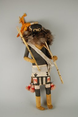 She-we-na (Zuni Pueblo). <em>Kachina Doll (Salamopea Shekjana)</em>, late 19th century. Feathers, hide, cotton, woll yarn, fur, plant fiber, 12 x 4 3/4 x 3 1/2 in. (30.5 x 12.1 x 8.9 cm). Brooklyn Museum, Museum Expedition 1903, Museum Collection Fund, 03.325.4664. Creative Commons-BY (Photo: Brooklyn Museum, CUR.03.325.4664_front.jpg)