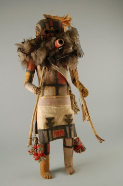 She-we-na (Zuni Pueblo). <em>Kachina Doll (Salamopea Elapona)</em>, late 19th century. Wood, fur, feathers, cotton, wool, pigment, plant material, 16 1/8 x 5 11/16in. (41 x 14.5cm). Brooklyn Museum, Museum Expedition 1903, Museum Collection Fund, 03.325.4666. Creative Commons-BY (Photo: Brooklyn Museum, CUR.03.325.4666_front.jpg)