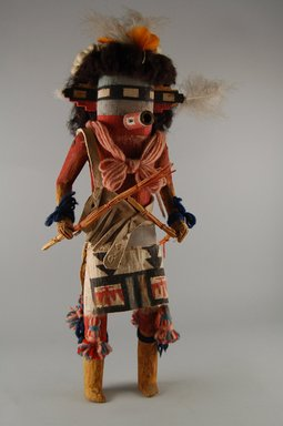 She-we-na (Zuni Pueblo). <em>Kachina Doll (Salamopea Thata Shoktepona)</em>, late 19th century. Fur, feathers, yarn, leather, rope, cotton, paint, 16 9/16 x 6 3/4 in. (42 x 17.1 cm). Brooklyn Museum, Museum Expedition 1903, Museum Collection Fund, 03.325.4669. Creative Commons-BY (Photo: Brooklyn Museum, CUR.03.325.4669_front.jpg)