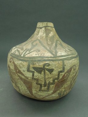 She-we-na (Zuni Pueblo). <em>Decorated Water Bottle</em>, late 19th-early 20th century. Clay, slip, 7 1/2 x 8 1/4 in. (19.0 x 21.0 cm). Brooklyn Museum, Museum Expedition 1903, Museum Collection Fund, 03.325.4757. Creative Commons-BY (Photo: Brooklyn Museum, CUR.03.325.4757_view1.jpg)