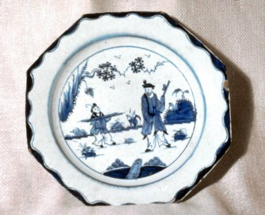 <em>Plate</em>, ca. 1760. Decorated porcelain, 1 x 8 7/8 in. (2.5 x 22.5 cm). Brooklyn Museum, Gift of Reverend Alfred Duane Pell, 03.328.204. Creative Commons-BY (Photo: Brooklyn Museum, CUR.03.328.204.jpg)