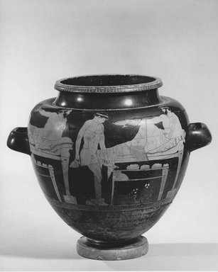 Attic. <em>Red-Figure Stamnos</em>, ca. 480 B.C.E. Clay, pigment, height: 13 1/2 in. (34.3 cm). Brooklyn Museum, Gift of Robert B. Woodward (03.8) and Museum Collection Fund (63.88.1-.2), 03.8. Creative Commons-BY (Photo: Brooklyn Museum, CUR.03.8_NegH_print_bw.jpg)