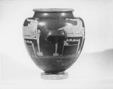Attic. <em>Red-Figure Stamnos</em>, ca. 480 B.C.E. Clay, slip, height: 13 1/2 in. (34.3 cm). Brooklyn Museum, Gift of Robert B. Woodward (03.8) and Museum Collection Fund (63.88.1-.2), 03.8. Creative Commons-BY (Photo: Brooklyn Museum, CUR.03.8_NegL_print_bw.jpg)