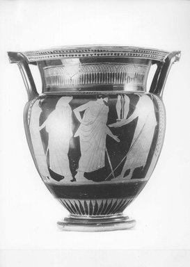 Greek. <em>Red-Figure Column Krater</em>, 480 – 470 B.C.E. Clay, pigment, 14 7/8 x diam. of body 12 1/8 in. (37.8 x 30.8 cm). Brooklyn Museum, Gift of Robert B. Woodward, 03.9. Creative Commons-BY (Photo: Brooklyn Museum, CUR.03.9_NegC_print_bw.jpg)