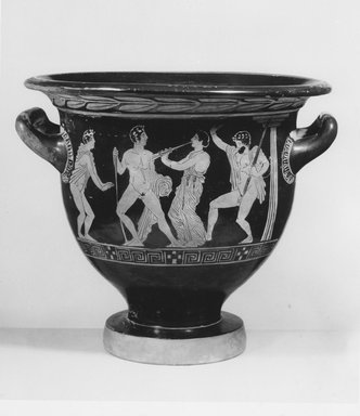 Attributed to (possibly) Tarporley Painter. <em>Red-Figure Bell Krater</em>, ca. 420 B.C.E. Clay, pigment, 12 13/16 ×  Diam. of lip 13 3/4 in. (32.5 × 35 cm). Brooklyn Museum, Purchase gift of Robert B. Woodward and Carll H. de Silver, 04.11. Creative Commons-BY (Photo: Brooklyn Museum, CUR.04.11_NegA_print_bw.jpg)