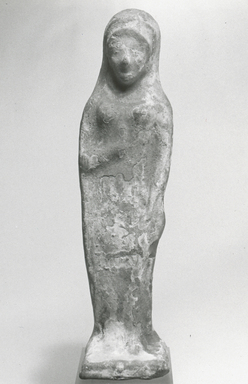 Possibly Greek. <em>Figure of a Female</em>. Clay, pigment Brooklyn Museum, Purchase gift of Robert B. Woodward and Carll H. de Silver, 04.19. Creative Commons-BY (Photo: Brooklyn Museum, CUR.04.19_NegA_print_bw.jpg)