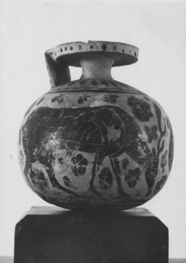 Greek. <em>Aryballos</em>, late 7th century B.C.E. Clay, slip, Height: 3 3/8 in. (8.6 cm). Brooklyn Museum, Purchase gift of Robert B. Woodward and Carll H. de Silver, 04.1. Creative Commons-BY (Photo: , CUR.04.1_NegA_print_bw.jpg)