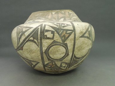She-we-na (Zuni Pueblo). <em>Polychrome Water Jar (Tai-lai)</em>, 1868-1933. Clay, slip, pigment, 11 x 15 1/4 in. (28.0 x 39.0 cm). Brooklyn Museum, Museum Expedition 1904, Museum Collection Fund, 04.297.5244. Creative Commons-BY (Photo: Brooklyn Museum, CUR.04.297.5244_view1.jpg)