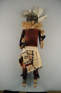 Mau-i (She-we-na (Zuni Pueblo)). <em>Kachina Doll (Gakwakena)</em>, late 19th-early 20th century. Wood, feathers, pigment, fur, cotton, wool, metal, 15 3/4 x 5 13/16 x 4in. (40 x 14.8 x 10.2cm). Brooklyn Museum, Museum Expedition 1904, Museum Collection Fund, 04.297.5329. Creative Commons-BY (Photo: Brooklyn Museum, CUR.04.297.5329_front.jpg)