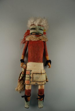 Mau-i (She-we-na (Zuni Pueblo)). <em>Kachina Doll (Ptotsana or Petetessna)</em>, late 19th-early 20th century. Wood, cotton, fur, feathers, pigment, 14 3/16 x 5 3/16 x 1/4in. (36 x 13.1 x 0.7cm). Brooklyn Museum, Museum Expedition 1904, Museum Collection Fund, 04.297.5330. Creative Commons-BY (Photo: Brooklyn Museum, CUR.04.297.5330_front.jpg)
