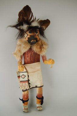 Mau-i (She-we-na (Zuni Pueblo)). <em>Kachina Doll (Gamuna)</em>, late 19th-early 20th century. Wood, pigment, cotton, fur, horse hair, feathers, 14 3/4 x 5 1/4 x 4 in. (37.5 x 13.3 x 10.2 cm). Brooklyn Museum, Museum Expedition 1904, Museum Collection Fund, 04.297.5332. Creative Commons-BY (Photo: Brooklyn Museum, CUR.04.297.5332_front.jpg)