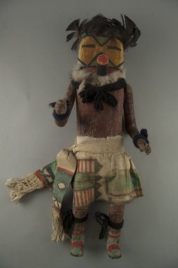 Mau-i (She-we-na (Zuni Pueblo)). <em>Kachina Doll (Panek Thluptse)</em>, late 19th-early 20th century. Wood, pigment, feathers, fur, cotton, 14 15/16 x 5 7/16 x 3 7/8in. (38 x 13.8 x 9.8cm). Brooklyn Museum, Museum Expedition 1904, Museum Collection Fund, 04.297.5334. Creative Commons-BY (Photo: Brooklyn Museum, CUR.04.297.5334_front.jpg)