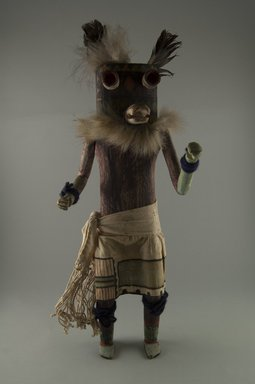 Mau-i (She-we-na (Zuni Pueblo)). <em>Kachina Doll (Natasku)</em>, late 19th-early 20th century. Wood, pigment, feathers, fur, yarn, cotton, 17 1/2 x 6 x 4 in. (44.5 x 15.2 x 10.2 cm). Brooklyn Museum, Museum Expedition 1904, Museum Collection Fund, 04.297.5335. Creative Commons-BY (Photo: Brooklyn Museum, CUR.04.297.5335_front.jpg)