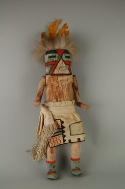 Mau-i (She-we-na (Zuni Pueblo)). <em>Kachina Doll (Tomtse)</em>, late 19th-early 20th century. Wood, feathers, cotton, pigment, 12 5/8 x 5 1/2 x 3 13/16in. (32 x 14 x 9.7cm). Brooklyn Museum, Museum Expedition 1904, Museum Collection Fund, 04.297.5337. Creative Commons-BY (Photo: Brooklyn Museum, CUR.04.297.5337_front.jpg)